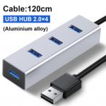 Multiplicador HUB USB Aluminio 2.0 4 puertos 120CM
