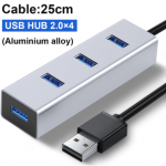 Multiplicador HUB USB Aluminio 2.0 4 puertos 25CM